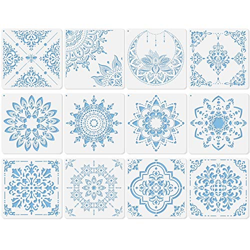 Midenco 12 Pcs (12x12inch) Prosperity Mandala Stencil - Wall Furniture Floor Tile Painting Stencils Reusable Plastic Spray Paint Stencils for Painting Large Pattern On Wood (Style-00)