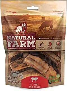 Natural Farm 6-Inch Beef Rib Dog Chew Bones (8-Pack) Grass Fed, Farm-Raised Cattle | Slow-Roasted Flavor | Low Odor for Indoor, Outdoor Chewing | Promotes Dental Health