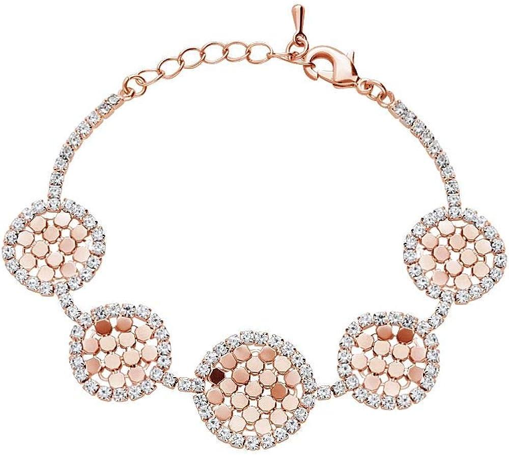 Stroili ,bracciale per donna, con strass e dettagli circolari, in metallo rosato 1666133