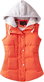 Women's Casual Winter Outerwear Waistcoat Quilted Padded Puffer Vest with Removable Hood