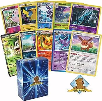 30 Assorted Pokemon Cards - 1 Eevee Card 3 Eeveelution Cards 1 EX or Full-Art Ultra Rare 7 Reverse Holographics 3 Rare Holographics and 15 Commons/Uncommons - Golden Groundhog Deck Storage Box