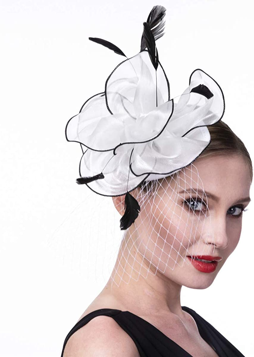 Fascinators Hat for Women Girls Cocktail Tea Party Headband Flapper Headpiece Kentucky Derby Wedding Hat