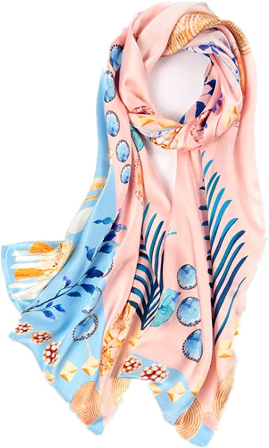 Silk Long Scarf Satin Silky Soft Office Air Conditioner Shawl (color   Pink)