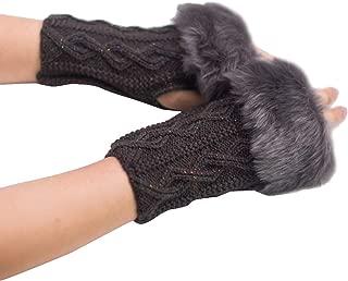 Faux Fur Women Fingerless Gloves 2020 New Fashion Girl Warm Winter Rabbit Wrist Solid Color Outdoor Mittens