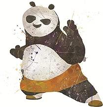 PGbureau Kung Fu Panda Poster - Watercolor Design - Cartoon Illustration for Children Kids - Nursery Decor - Bedroom Print for Boys (8x10)