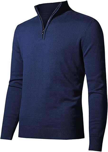 Men's Sweater Pullover Slim Fit Long Sleeve Knitted Soft Mock Neck Quarter Zip Polo Sweater