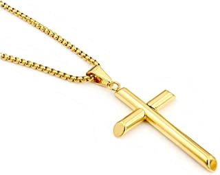 Fine 18k Round Box Chain style Cross Pendant Gold Men Women necklace Jewelry Thin for charms, solid clasp 18