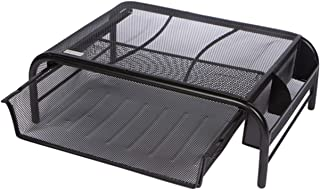 Mesh Metal Monitor Stand, Desk Riser with Pull Out Storage Drawer, Black- for Computers, Laptops, Printers
