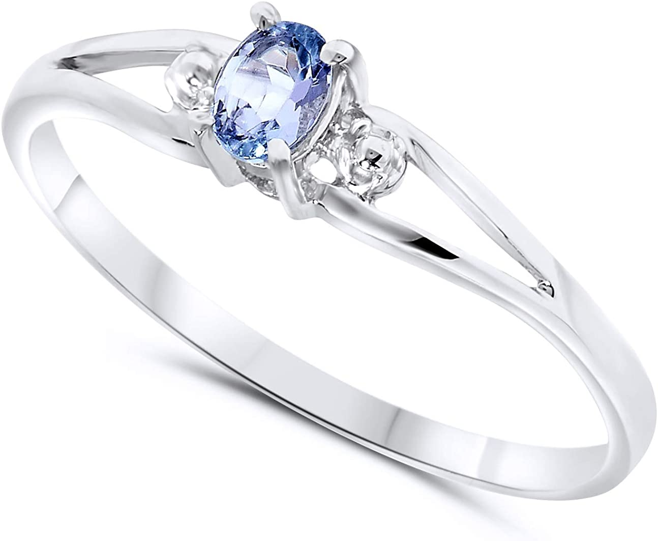 10k White Gold Oval Tanzanite Stackable Promise Ring For Women