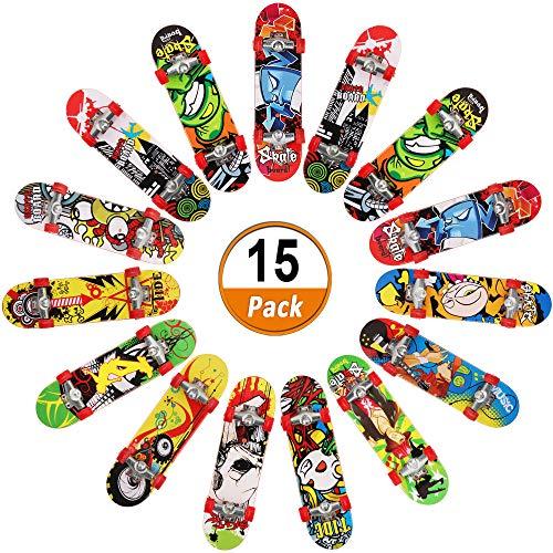 15 PC's Vinger Skateboards, Mini Vingerbord Mini Skateboard Speelgoed Dek Truck Vingerbord voor Jongens Kinderfeestzakvullers Verjaardagsfeestje Speelgoedgunsten in meerdere patronen (willekeurige kleur)