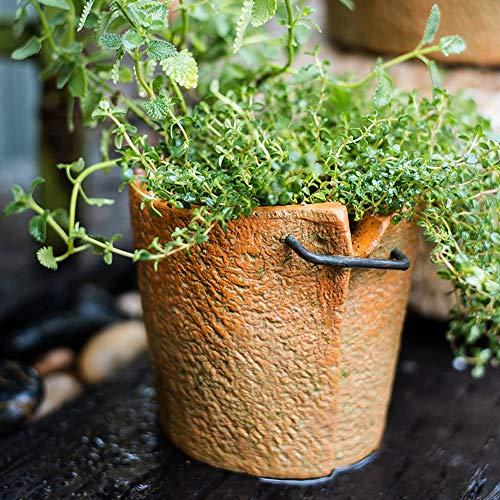 Bcaer Große Blende Red Keramik Pflanzbehälter Verschluss Typ Pflanze Seeder Nähen Rot Thick Ceramic Große Blumentopf Kleine Blumentopf kreative Persönlichkeit Retro Nordic Topfinnen Grocery Garten