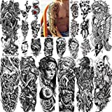 22 Sheets Geweir Extra Large Full Arm Temporary Tattoos Sleeve For Men Women Adults, 3D Lion Wolf Death Skull Black Spartan Warrior Realistic Fake Tattoo Stickers Kits, Punk Girls Tatoos Flower Sets