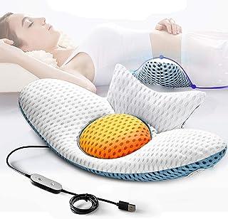 Jeebel Almohada lumbar, cojín para dormir, contra el dolor de espalda con función de calor y masaje vibratorio, almohada ortopédica, masajeador de espalda para ciática y dolor de cintura