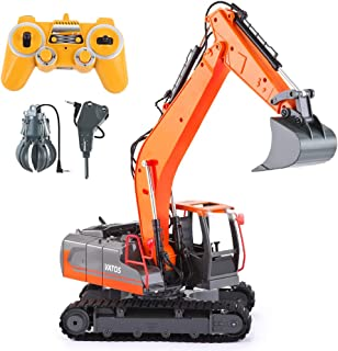 VATOS RC Excavator Remote Control Toy Digger, 1:16 Scale 3-in-1 Excavate Drill Grasp Simulated Rechargeable RC Truck Construction Fully Functional RC Vehicles Tractor Best Gift for Boys & Girls 2.4Ghz