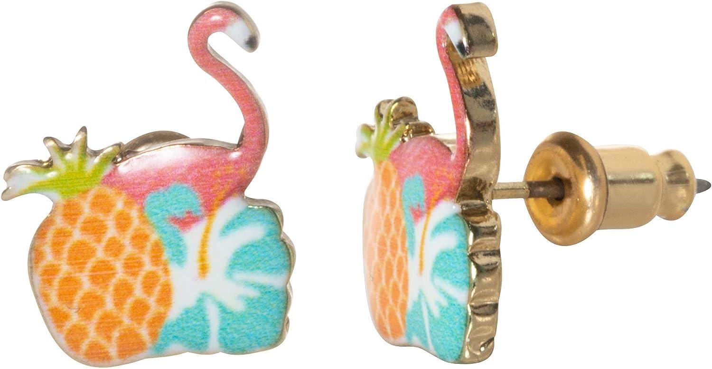 Artisan Owl - Tropical Pink Flamingo Stud Earrings