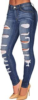 Sidefeel Women Casual Destroyed Ripped Distressed Skinny Denim Jeans
