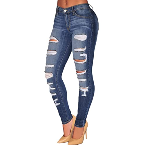 Sidefeel Women Casual Destroyed Ripped Distressed Skinny Denim Jeans 8df9127a2a