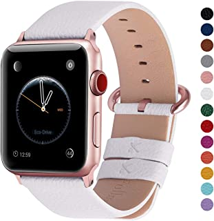 Fullmosa Compatible Apple Watch Band 38mm 40mm 42mm 44mm, Genuine Leather Band Compatible Apple Watch Series 4, Series 3, Series 2, Series 1, 38mm 40mm White + Rose Gold Buckle