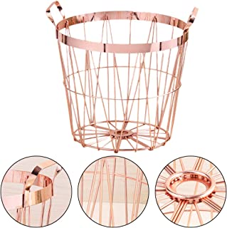 Lijuan Qin Rose Gold Wire Storage Basket and Waste Bin with Handle, Dirty Laundry Toys Towels Shoes Blanket Hampers for Office, Bedroom, Living Room, Closet Decor (L)