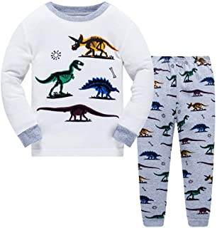 LitBud niños Pijamas Conjunto 100% algodón Dinosaurio Ropa de Dormir Pijamas Largos Pjs Conjunto tamaño para niños pequeño...