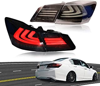MOSTPLUS Smoke Tinted LED Tail Lights Rear Brake Lamp for HONDA Accord 2013 2014 2015 Set of 2