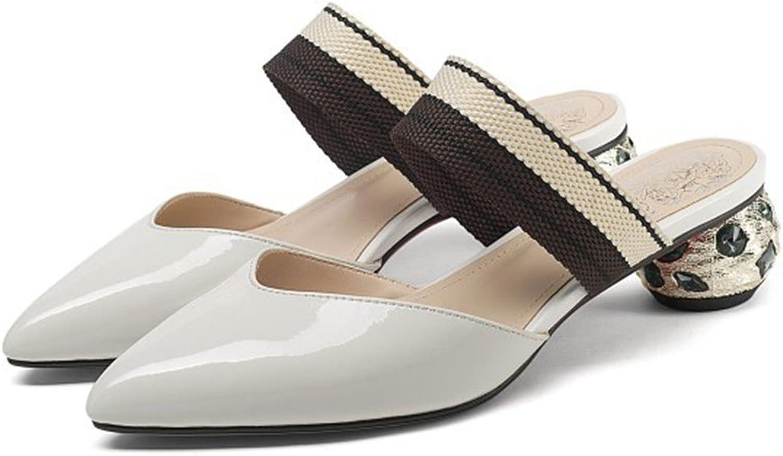 RYRYBH Damenschuhe Neuheit Schuhe Sommer Leder Spitze Spitze Sandalen Baotou Mode Strass Hausschuhe Outdoor Freizeitschuhe Schuhe (Farbe   Creamy-Weiß, Größe   37)  am besten kaufen