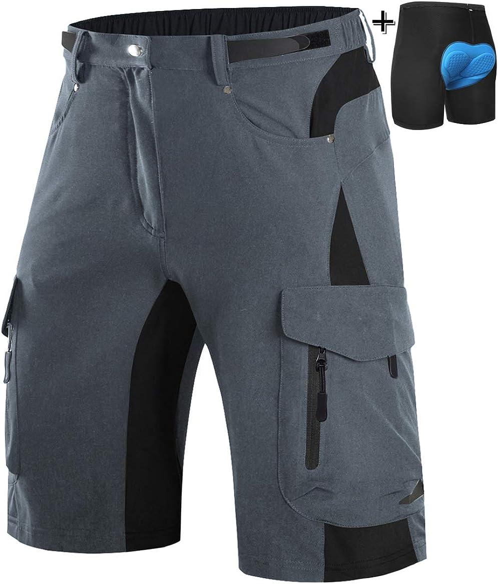 Wespornow Mens-Mountain-Bike-Shorts MTB Shorts with 6 Pockets