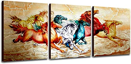 Purple Verbena Art 3 Pieces Framed Canvas Wall Art Colorful Running Horse Prints Picture Artwork Vintage Canvas Art Paintings for Home Office Living Room Decor 16