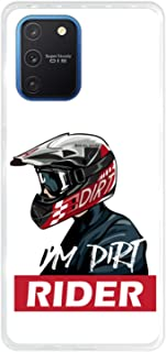 Funda Hapdey para iPhone 7 8, Diseño Dirt moto rider con casco, Silicona TPU
