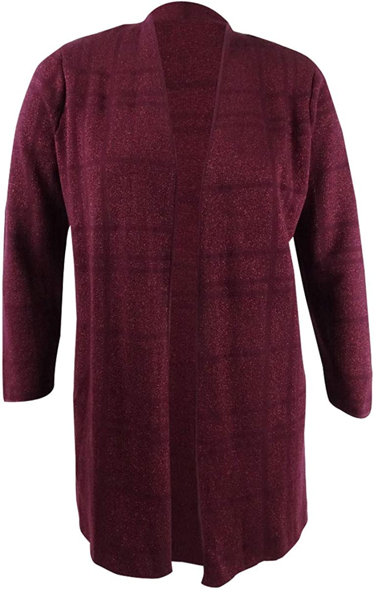 Kasper Womens Plus Metallic Long Cardigan Sweater