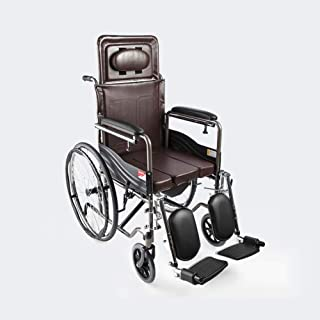 Wheelchair ,Aluminum Transport Folding Chair with Handbrakes ,Lightweight Self-propelled Chair with Bedpan,19 inch Leather...