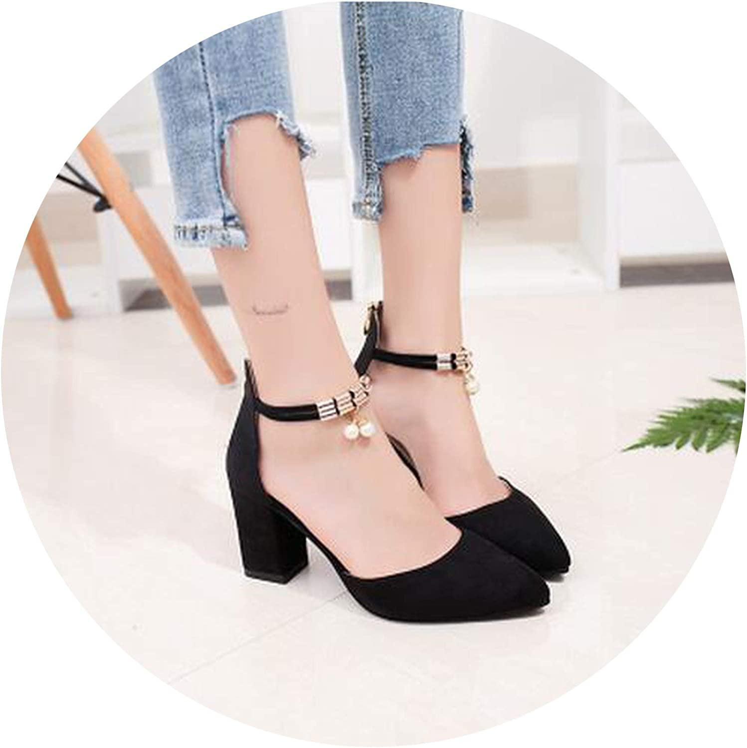 Coolemon HOT Summer Women shoes Side with Pointed Toe Pumps Dress shoes High Heels Boat shoes Wedding shoes Tenis Feminino Sandals  A08,Black 7cm,40