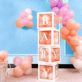 Aytai Baby Shower Decorations for Girl Boy, 4Pcs Baby Boxes with Letters for baby shower, White Baby Transparent Balloons Boxes, Individual Baby Blocks for Birthday Party Gender Reveal Party Supplies