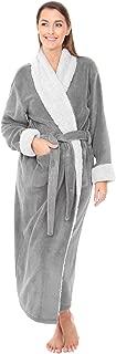 Women's Warm Fleece Robe, Long Plush Sherpa Contrast Bathrobe