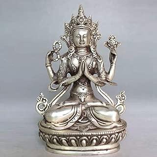 EASTCODE Tibet Buddhism Silver Bodhisattva Four-Armed Avalokiteshvara Buddha Statue 14cm Height