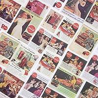 TNYKER シール フレークシール 手帳 ステッカー 海外 レトロ ヨーロッパ スケジュール デコ おしゃれ 西洋 手紙 カレンダー 40枚セット(コーラーの広告)