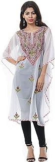 Odishabazaar Women's Georgette Kashmiri Kaftan Loungewear Tunic Top Cover up (MULTI-256)
