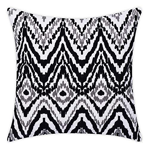 baibu 100% Cotton Embroidery Decor Throw Pillow Case Black and White...