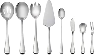 Serving Utensils, E-far 8-Piece Stainless Steel Hostess Serving Set, Simple Design, Mirror Polished - Dishwasher Safe