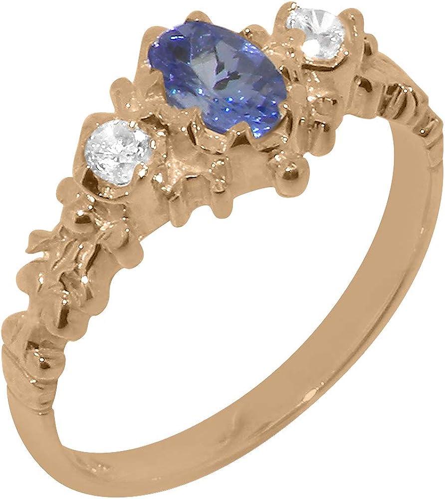 Award 14k Rose Gold Natural Tanzanite Ring Womens - Trilogy Classic Diamond