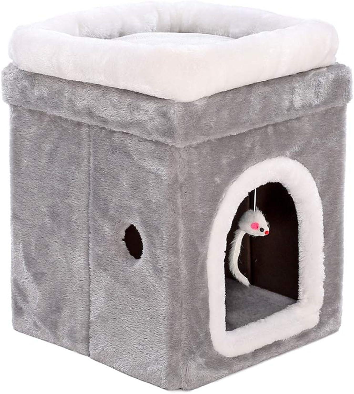 CHEN. Pet bed  cat litter four seasons universal pet nest cat nest house villa deep sleep cat house cat house pet supplies (double folding bed),Doublefoldingpetbed,M