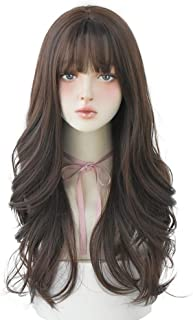 Hair Dye Wig for Women Synthetic Hair Natural Long Curly Wig With Bangs (Brown)