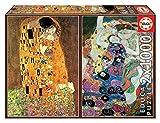Educa Borrás-Serie Art Collection 2 Puzzles de 1.000 Piezas, El Beso y La Virgen de Gustav Klimt 18488