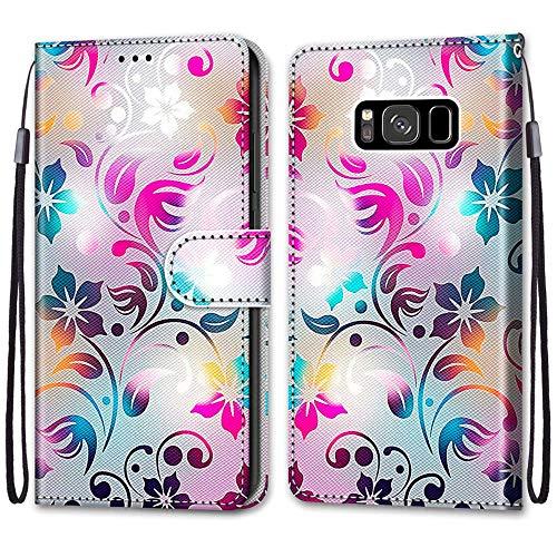 Nadoli Handyhülle Leder für Samsung Galaxy S8,Bunt Bemalt Gradient Bunt Blumen Trageschlaufe Kartenfach Magnet Ständer Schutzhülle Brieftasche Ledertasche Tasche Etui