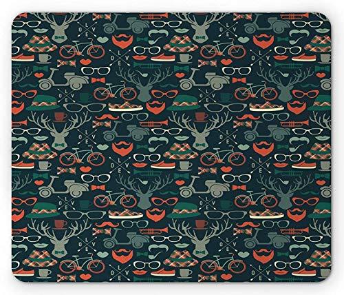 Hipster Mouse Pad, Karibu Rentier Geweih Plaid Hut Fliege Schnurrbart Bike Print, Rechteck rutschfestes Gummi Mousepad, Standardgröße, Dark Petrol Blue Multicolor