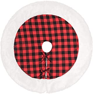 MACTING 48 Inch Buffalo Plaid Christmas Tree Skirt Red and Black Buffalo Check Tree Skirt with White Fur Edge, Double Layers Xmas Tree Skirt for Holiday Decorations (48