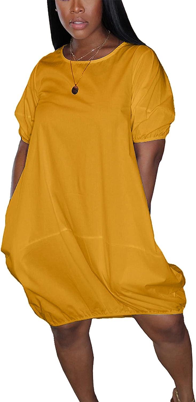DINGANG T Shirt Dresses for Women Knee Length Summer Casual Loose Bubble Sleeves Crewneck Midi Dress