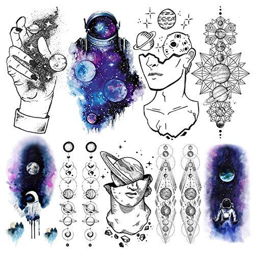 LAROI 9 Blätter Blau Wasserfarbe Astronaut Temporäre Tattoos Aufkleber Kinder Weltraum Mann Gefälschte Tattoos Erwachsene Herren Denker Geometrische Planeten Frauen Großer Armtattoo Stern Aquarell