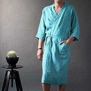 Winter Nightgown Pajamasinen Men's V-Neck Long Solid Pajamas Robes Wrist Sleeve Simple Lace Up Male Robe Vintage Men Bathr...