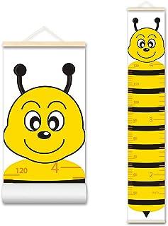ASENART Baby Growth Chart Cartoon Animal Honeybee Poster Waterproof Handing Ruler Wall Decor for Kids, Canvas Removable He...